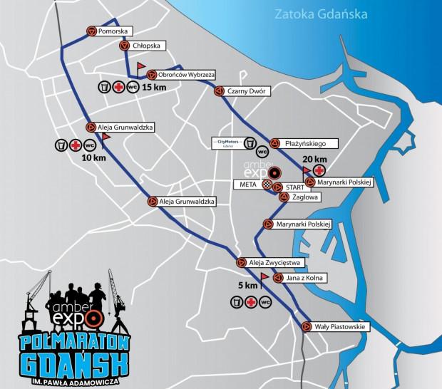Trasa AmberExpo Półmaratonu Gdańsk im. Pawła Adamowicza