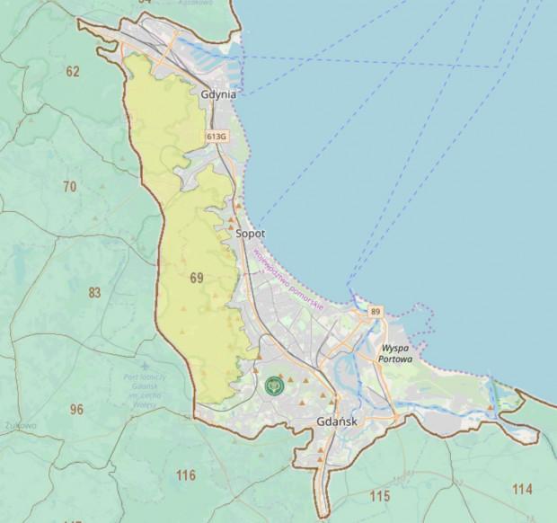 Obszar położonego wokół Trójmiasta obwodu łowieckiego nr 69, w którym zostanie przeprowadzony odstrzał redukcyjny dzików.