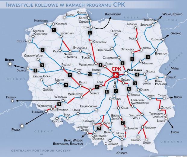 Inwestycje kolejowe w ramach CPK
