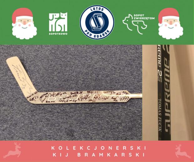 Jedną z rzeczy, które można wylicytować w aukcjach dla Sopotkowa, jest kij hokejowy bramkarza Lotosu PKH Gdańsk z podpisami całej drużyny.