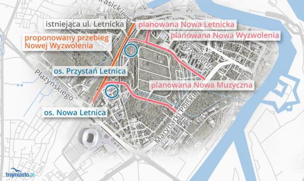 Propozycja mieszkańców zakłada budowę drogi wzdłuż i po terenach kolejowych, zaś miejskich urbanistów - równolegle do ul. Wyzwolenia.