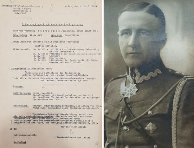 Dokument z poniemieckiego archiwum dotyczący działacza sportowego ze Lwowa i polskiego legionisty oraz żołnierza II RP Brunona Baduszka.