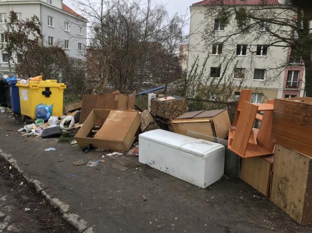 Tak wyglądają śmietniki przy skrzyżowaniu ulic Malczewskiego i Sowiej na Siedlcach.