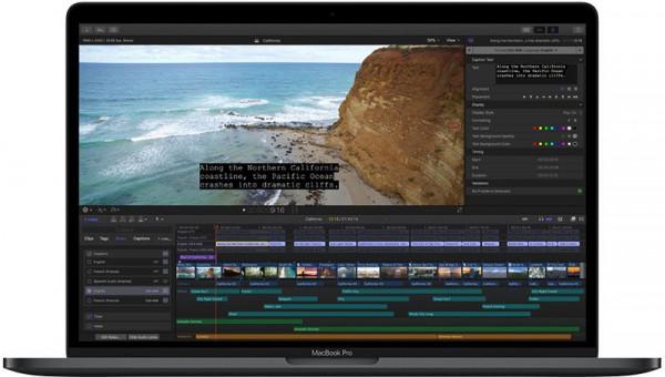Program Final Cut Pro X do edycji wideo na MacBooku.