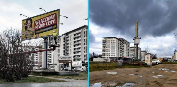 W ostatnich dniach wzdłuż al. Jana Pawła II usunięto kilka dużych reklam.