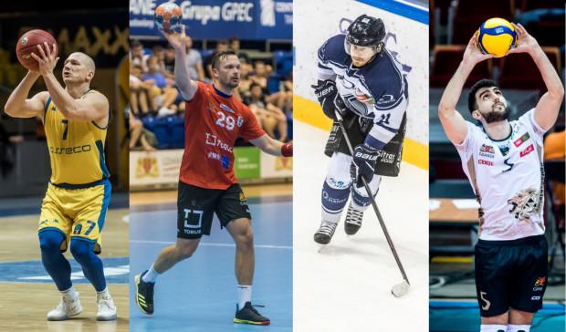 Kolejni kandydaci do tytułu Ligowca Roku 2019. Od lewej: Krzysztof Szubarga, Mateusz Wróbel, Peter Polodna, Marcin Janusz.