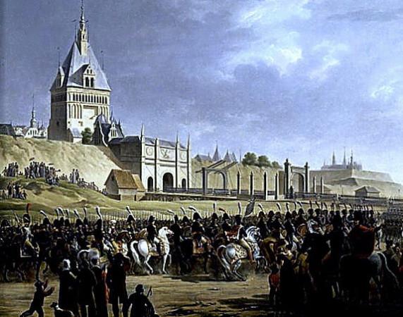 Wejście wojsk Napoleona do zdobytego Gdańska w 1807 r. Obraz Adolphe'a Roehna.