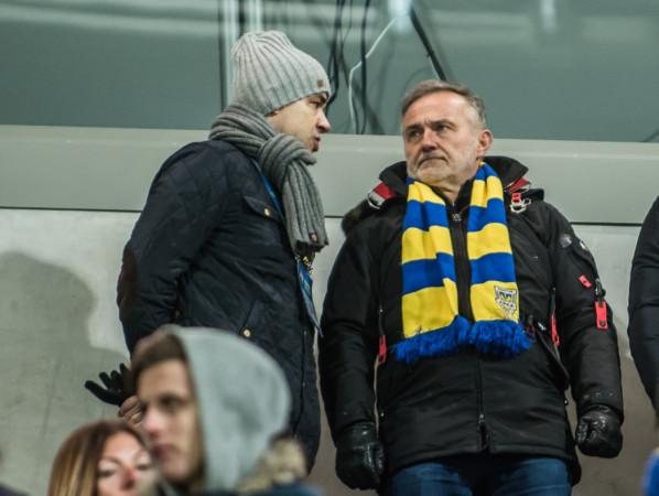 Prezydent Gdyni wstrzymał finansowanie z miejskiej kasy dla Arki Gdynia i wezwał do zbilansowania budżetu piłkarskiej spółki. Na zdjęciu Wojciech Szczurek i Dariusz Schwarz, który zrezygnował z funkcji prokurenta klubu.