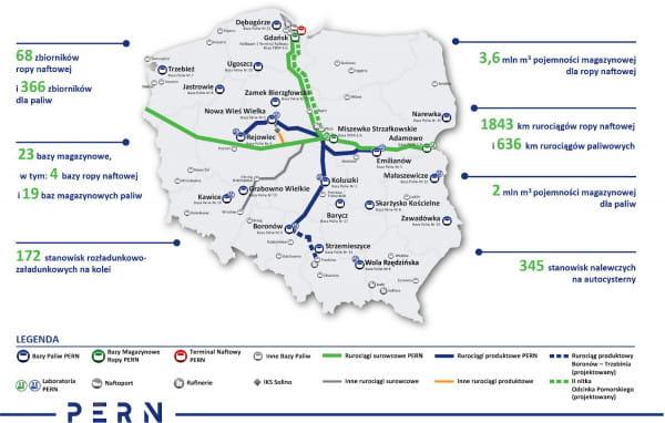 Mapa rurociągów PERN.