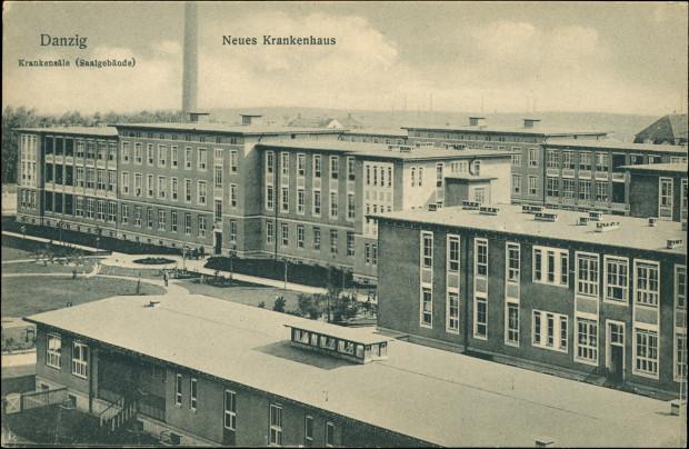 Budynki Szpitala Miejskiego we Wrzeszczu na przedwojennej pocztówce.