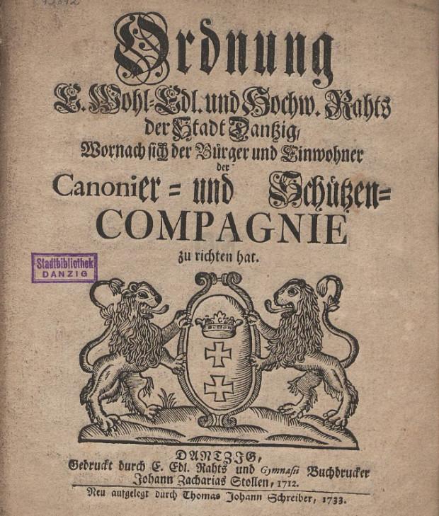 Rozporządzenie dla kompanii kanonierów i strzelców z roku 1733. Ze zbiorów portalu Polona.pl