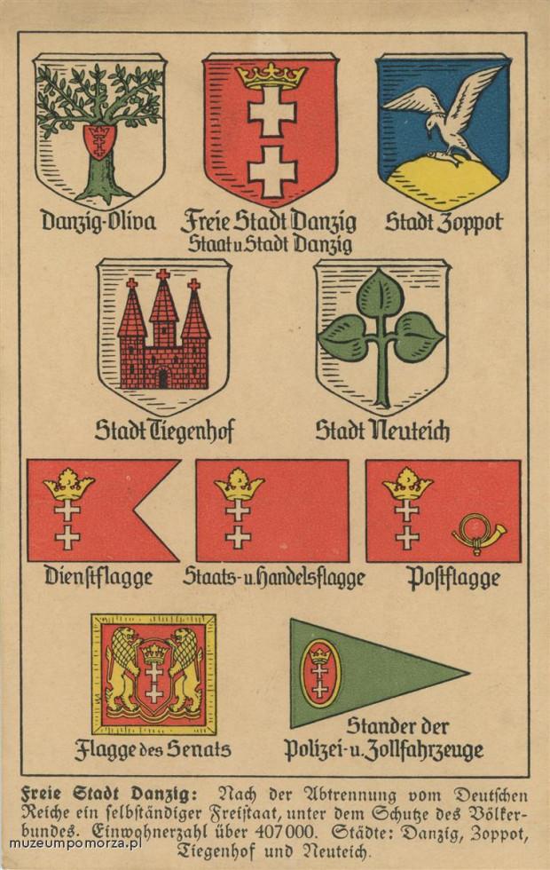 Karta pocztowa z 1930 r. z herbami miast wchodzących w skład Wolnego Miasta Gdańska. Pod herbami, flagi używanymi przez instytucje Wolnego Miasta Gdańska.