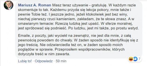 Mariusz Roman odniósł się do sprawy na Facebooku.