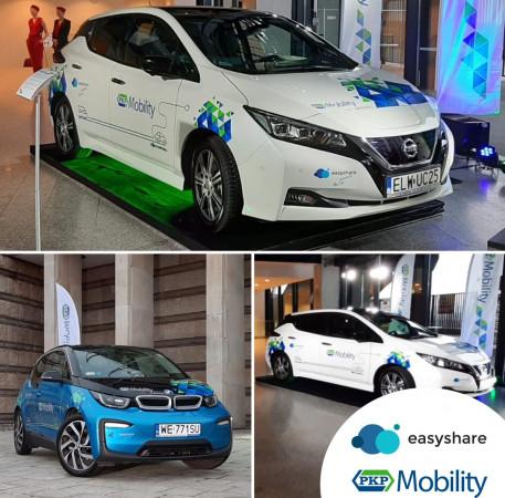Nissan Leaf (u góry) oraz BMW i3 (na dole po lewej) - te auta będzie można wypożyczyć już niebawem spod dworców kolejowych w Trójmieście w ramach nowej usługi PKP.