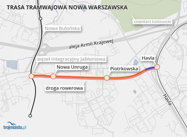 Na 2-kilometrowej trasie powstaną trzy przystanki tramwajowe. Wzdłuż torów powstanie droga rowerowa. Niebieskim kolorem oznaczono pierwszy etap inwestycji, a pomarańczowym drugi.