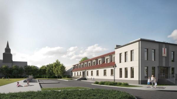 Wizualizacja zabytkowego budynku stanowiącego zaplecze dla boiska oraz centrum edukacyjno-sportowego dla dzieci.