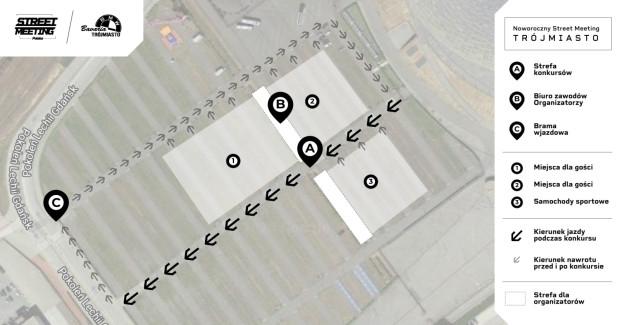 Mapka imprezy. Brama wjazdowa na teren zlotu znajduje się od strony Amber Expo.