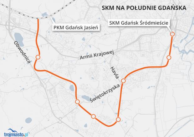 Propozycja przebiegu SKM na Południe autorstwa naszego czytelnika, Krzysztofa Adamskiego.