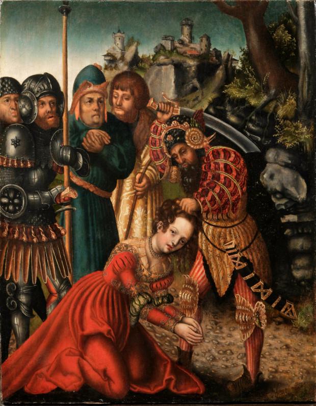 Męczeńska śmierć św. Barbary na obrazie Lucasa Cranacha, powstałym w latach 1511-14.