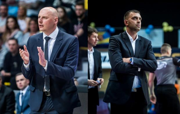Trener Asseco Arki Gdynia Przemysław Frasunkiewicz (z lewej) i szkoleniowiec Trefla Sopot Marcin Stefański są zgodni w kwestii swoich nowych podopiecznych. Wszyscy mają wnieść wiele świeżości w walce jak najlepsze pozycje przed fazą play-off.