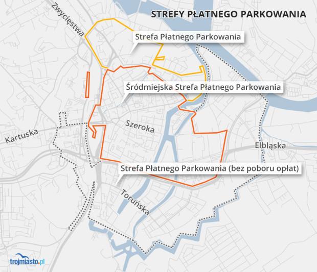 Strefy Płatnego Parkowania w centrum Gdańska.
