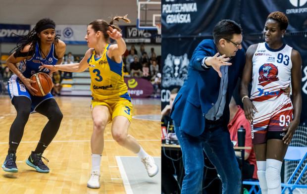 Tierra Ruffin-Pratt z AZS Uniwersytetu Gdańskiego (z lewej) i Angelika Slamova z Arki Gdynia (nr 3) deklarują walkę do samego końca w sezonie zasadniczym EBLK. Podobnego zdania jest również Vadim Czeczuro (drugi z prawej), który prowadzi DGT Politechnikę Gdańską w stronę fazy play-off.