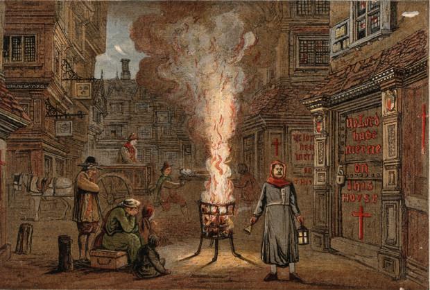Londyńska ulica podczas wielkiej plagi w 1665 roku.