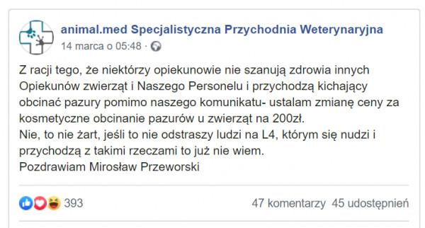 Komunikat animal.med Specjalistycznej Przychodni Weterynaryjnej