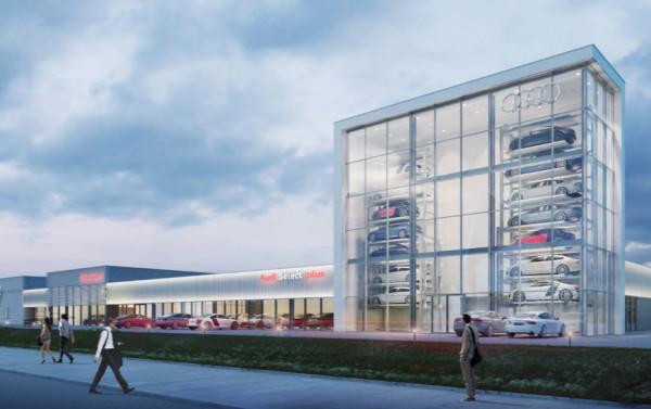 Najważniejszym obiektem kompleksu będzie salon Audi Sport.