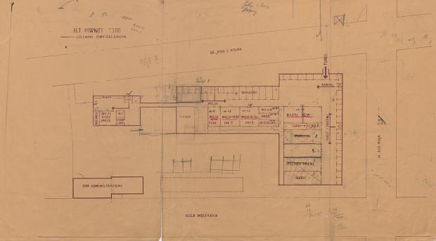 Plan piwnic Miejskiej Hali Targowej w Gdyni, 1937-1939 (ze zbiorów Muzeum Miasta Gdyni).