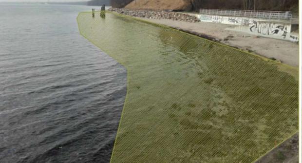 Zakres planowanego poszerzenia plaży w Orłowie