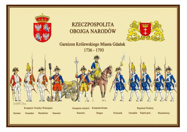 Współczesny rysunek gdańskich żołnierzy miejskich. Rysował Jan Czop.