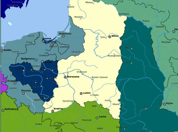 Drugi rozbiór Polski w 1793 r. Ciemnogranatowym kolorem zaznaczono ziemie zajęte przez Królestwo Prus, w tym Gdańsk i tereny wokół niego. Ciemnozielonym, ziemie zagarnięte przez Rosję.
