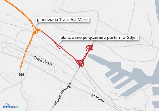 Planowana Droga Czerwona połączy Obwodnicę Trójmiasta i Trasę Kwiatkowskiego z drogą do portu oraz planowaną trasą na Hel.