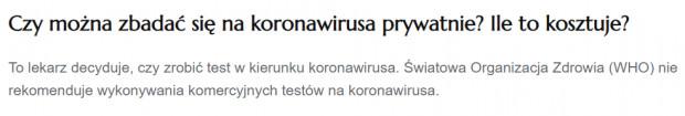 Ministerstwo Zdrowia na swojej stronie przypomina, że WHO nie rekomenduje wykonywania komercyjnych testów na obecność koronawirusa.
