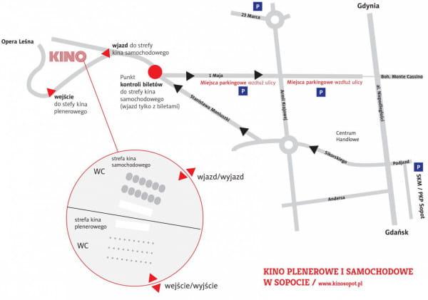 Mapka dojazdu do kina samochodowego w Sopocie.