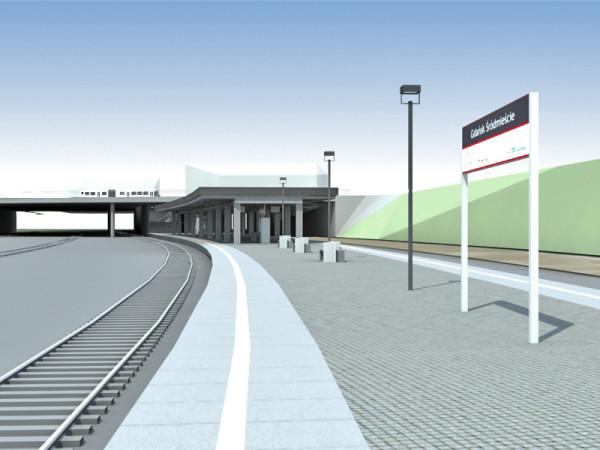 Wizualizacja przystanku Gdańsk Śródmieście wykonana przez firmę Scott Wilson.