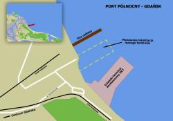 Prawdopodobna lokalizacja nowego terminalu kontenerowego w Gdańsku.
