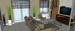 Drewniane, poziome żaluzje pozwalają w ciągu dnia decydować o stopniu doświetlenia wnętrza.