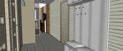 Strefa wejścia z podręcznym wieszakiem, lustrem i szafką, na której można usiąść.