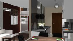Widok na kuchnię i pokój. Na końcu, za błyszczącą płytą, kryje się wysuwane łóżko sypialniane.