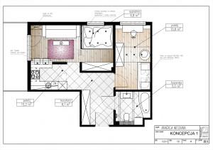 Koncepcja 1. Sypialnia z pojemną szafą w miejscu kuchni.