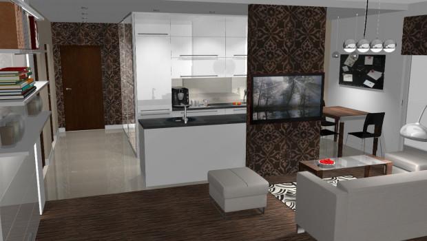Salon i kuchnia w jednym, a jednak subtelnie rozgraniczone. W razie potrzeby od ścianki w lewo wysuwają się kolejne elementy drzwi przesuwnych.