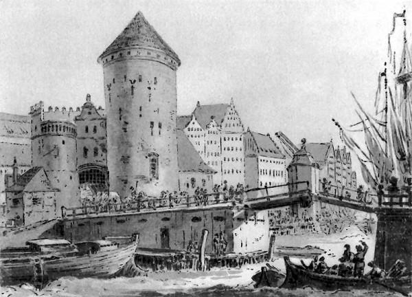 """""""Turek"""" na rysunku Zygmunta Vogla przedstawiającym Most Stągiewny, ok. 1790 r."""