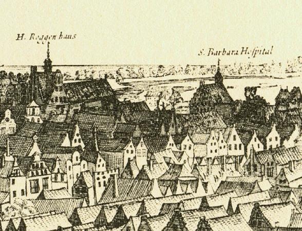 """Fragment panoramy Gdańska rytowanej przez Piscatora. """"Turek"""" mylnie oznaczony jako """"S. Barbara Hospital"""". """"H. Roggen haus"""", czyli """"dom pana Roggego"""", to kamienica przy ul. Chlebnickiej 16, bardziej znana jako Dom Angielski."""