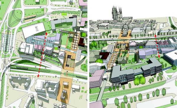 Plusem nowego opracowania jest utworzenie przez projektantów osi widokowej na linii ul. Rogaczewskiego - ul. Bogusławskiego. Zaznaczono ją czerwoną linią.