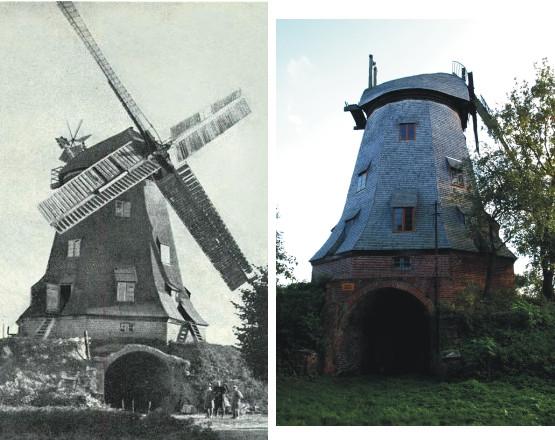 Wiatrak w Palczewie: od lewej jeszcze przed laty w pełnej swej okazałej formie, obecnie jest odrestaurowywany.