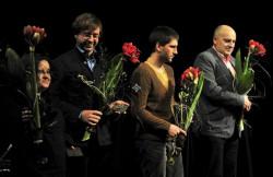 Do Gdyni przyjechali wszyscy finaliści GND. Od lewej stoją: Zyta Rudzka, Marek Kochan, Mateusz Pakuła i Wojciech Tomczyk. Nieobecny na zdjęciu, ale obecny w Gdyni był także Antoni Ferency.