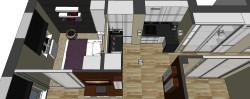 Przestrzeń blatów roboczych w kuchni została funkcjonalnie podzielona na dwie części: strefę zmywania i gotowania.