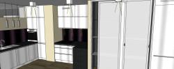 Jasne meble kuchenne z lakierowanych płyt będą dodatkowo rozświetlać pomieszczenie.